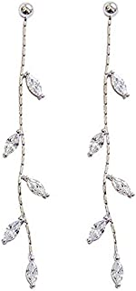 MSECVOI 925 Sterling Silver Droplet Threader Earrings Chain for Women Teen Girls Olive Leaves Dangle Earrings