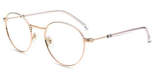 Firmoo Occhiali Anti Luce Blu Donna Uomo, Occhiali per Computer Antiriflesso Antiaffaticamento, Occhiali per PC Gaming TV,Occhiali da Vista occhiali da Riposo, Occhiali Montatura Rotondi Oro