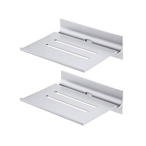 KES Estanteria Baño sin Taladro Baldas Pared sin Agujero con Orificio para el Cable del Cargador Estanterias Baño Adhesivas 2 Piezas Aluminio Plata, BSC410S15-P2
