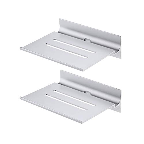 UMI. by Amazon Bathroom Shelves Small Wall Shelf Floating Shelf Wall Mounted with Charger Cable Hole for Bluetooth Speaker Aluminium Silver 2 Pack, BSC410S15DG-P2