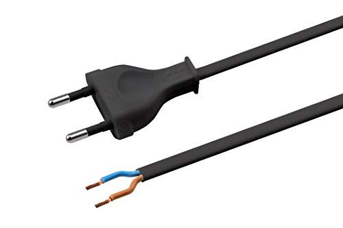 Meister Euro-Zuleitung - 2 Meter - schwarz - Kunststoffleitung H03VVH2-F2X0,75 - 2 Adern - IP20 / Anschlussleitung mit Euro-Stecker / Anschlusskabel / Installationsmaterial / 7442020
