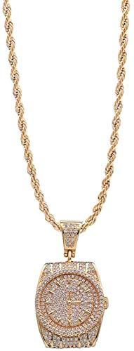 LBBYMX Co.,ltd Collar de Moda para Adultos Reloj de Hip Hop Collar con Colgante Personalidad Creativa Collar de Halloween Joyas-Oro