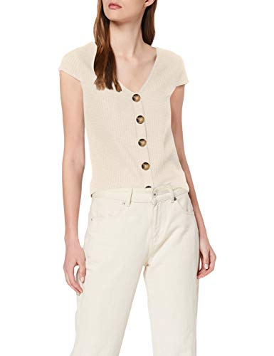 Only Onlnella S/s Button Top Noos Jrs Camiseta, Detail: Melange Pumice Stone, L para Mujer