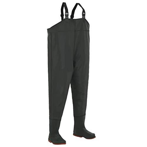 UnfadeMemory Wathose Anglerhose mit Stiefeln PVC-beschichtetes Polyester Wasserdicht Fischerhose Abgesteppte und versiegelte Nähte Verstellbare Träger Grün (Stiefelgröße 38)
