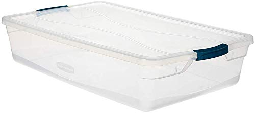 Rubbermaid Cleverstore 41 QT Pack of 4 Stackable Plastic Containers with Durable Latching Clear Lids, Visible Organization, Craft, Tool, and Toy Storage, Quart-4 Pack
