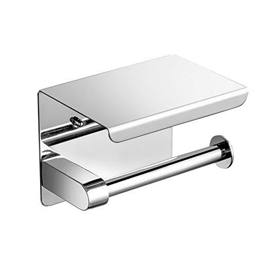 MJL Toilettenpapierhalter mit Ablage Klopapierhalter Edelstahl Bohren Klorollenhalter Für Badezimmer Toilette 0