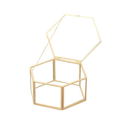 Fenical Hexagon Glass Geometric Ring Display Box Contenitore di Gioielli da Appendere Porta Regalo Anti-Appannamento