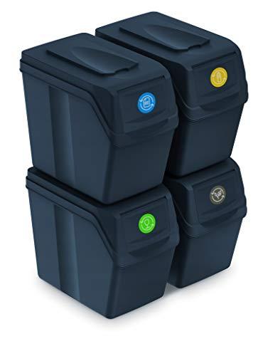 Prosperplast Juego de 4 Cubos de Reciclaje 80L Sortibox de plastico en Color Antracita, 4x20L