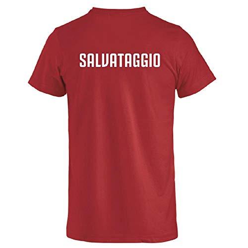 BrolloGroup T-Shirt Uomo Salvataggio Maglietta Manica Corta Personalizzata PS 27431-Salvataggio-XXL-rosso
