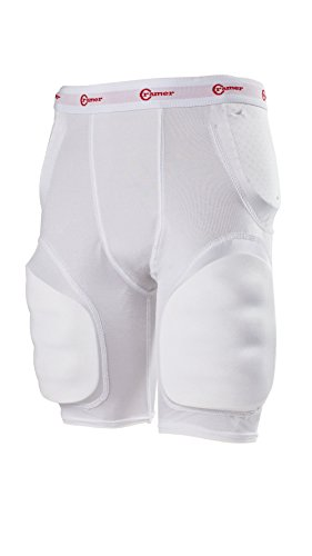 Cramer Classic 5-Pad Football Girdle With Hip, Tailbone and Thigh Pads, Integrated Girdle, Compression Football Gear, Football Equipment, Football Pads, Protective Gear for Football, White, Medium
