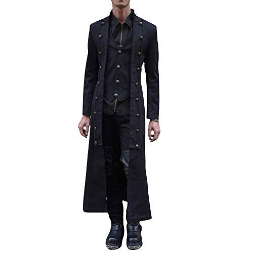 Heflashor Herren Vintage Frack Steampunk Gothic Jacke Viktorianischen Langer Mantel Mittelalter Gotische Ritteranzug Fasching Karneval Cosplay Kostüm Smoking Jacket Uniform