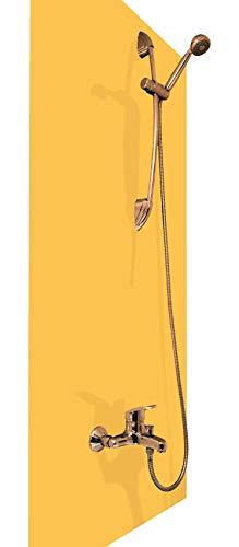Wasserfeste Duschrückwand als Wandverkleidung 100 x 200 cm (BxL) - PVC Kunststoff Platte für die Dusche in verschiedenen Farben - Langlebige Verkleidung im Badezimmer - Duschplatte/Duschwand Gelb