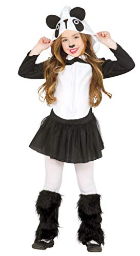 shoperama Disfraz de oso panda para niña, con capucha y forro polar, tul y animal, para niños de 3 a 4 años