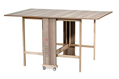 Table Console refermable en Bois à roulettes pivotantes Giorgia (Gris)
