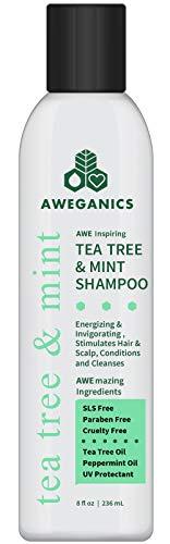Aweganics Tea Tree Mint Shampoo | Made in USA | Natural Aromatherapy Invigorating Peppermint Shampoos | Cooling, Cleansing, Moisturizing