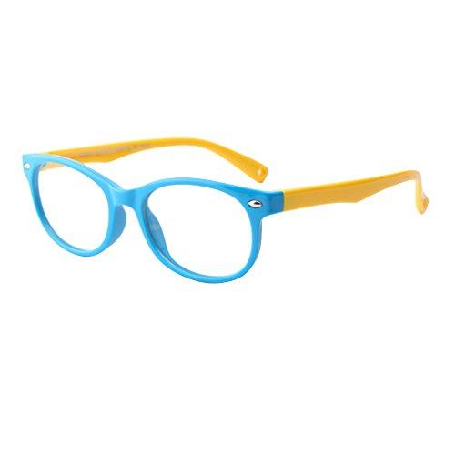 Juleya Juleya Kinder Gläser Rahmen - Silikon - Kinder Brillen Clear Lens Retro Reading Eyewear für Mädchen Jungen - 180710ETYJJ08