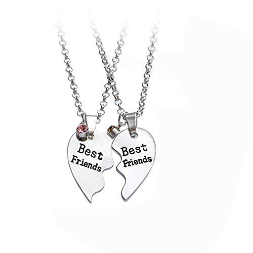 Ogquaton 2 Piezas Mejores Amigos Collares Medio corazón Colgante Collar joyería Regalo Idea para Mujer niña Dama Duradera y útil