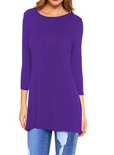 I2CRAZY Women's Tunics Tops 3/4 Sleeve Casual Loose Fit Blouse Swing Shirts-Medium,Purple