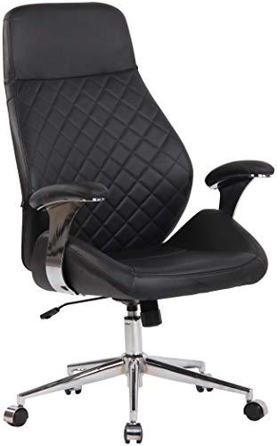 CLP Bürostuhl Layton Mit Leichtlaufrollen | Chefsessel Mit Lehne | Höhenverstellbarer Ergonomischer Bürosessel, Farbe:schwarz, Material:Echtleder