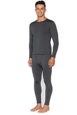 Bodtek Mens Thermal Underwear Set Premium Long John Base Layer Fleece Lined Top and Bottom (Dark Grey, X-Large)