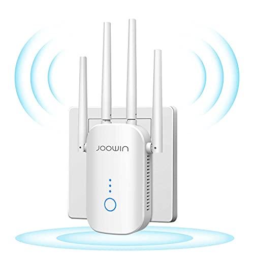 JOOWIN Répéteur WiFi 1200Mbps Amplificateur WiFi Double Bande, pour répéteur de Signal sans Fil/Point daccès/routeur avec Port Ethernet et 4 antennes externes, À Travers Le Mur amplificateur WiFi