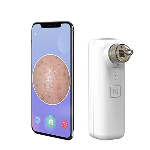 Duvets Limpiador de Poros, con cámara Limpiador Facial Blackhead, USB Succionador de Puntos Negros, Conexión WiFi automática, 3 Modos,3 Cabezales, 500 mAh