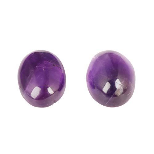 GEMHUB Amatista violeta natural, 20 quilates, 2 unidades, cabujón ovalado, piedra preciosa suelta para joyería ASP-024