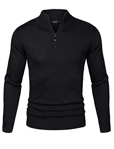 iClosam Herren Strickpullover Slim Fit Pullover Mit Stehkragen Und Reißverschluss Schwarz X-Large