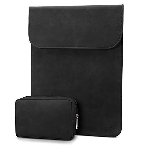 TECOOL 13-13,3 Pulgadas Funda Ordenador Portátil con de Accesorios Cuero Bolsa para 2010-2017 MacBook Air 13/2012-2015 MacBook Pro 13/13.5 Surface Laptop 3 / Matebook D14 Funda Cuero, Negro