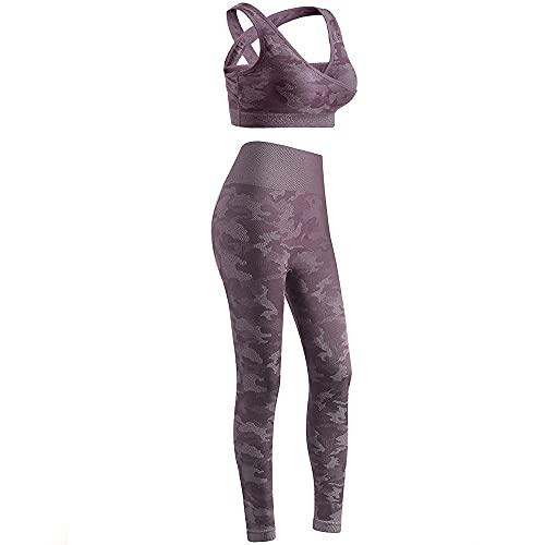 qqff Levantamiento Glúteos Yoga Pantalones Running,Traje de Dos Piezas para Correr Fitness Femenino,Traje de Gimnasia-Red_S,Leggings Sexis Anticelulíticos