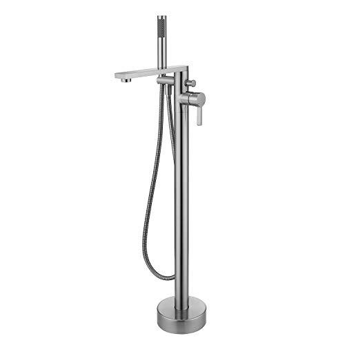 Wowkk Freestanding Bathtub Faucet Tub Filler Brushed Nickel Floor Mount Brass Single Handle Bathroom Faucets with Hand Shower