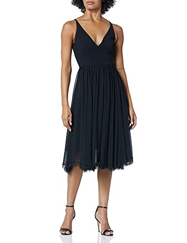 Dress the Population Women's Alicia Plunging Mix Media Sleeveless Fit and Flare Midi Dress, Black, l