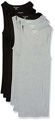 Amazon Essentials 6-Pack Tank Undershirts Camisa, Negro (Black/Heather Grey), X-Small