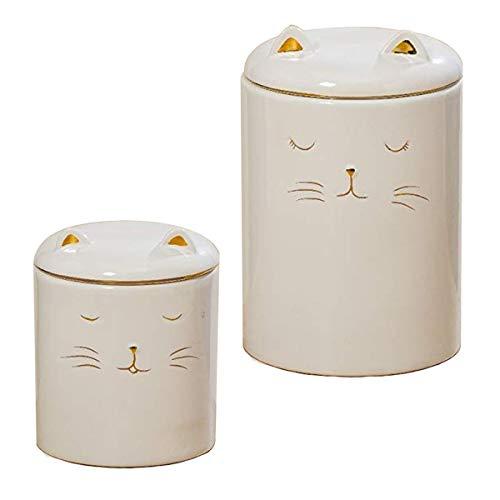 CasaJame Akcesoria do mebli kuchennych, akcesoria do przechowywania, zestaw 2 pojemników, słoiki z białej porcelany kamionki z wypychem kota, zaprojektowane Ø 10/13 H 13/19 cm