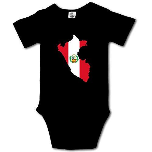 Mono de Manga Corta para bebé con diseño de Mapa de la Bandera de Perú Negro Negro (6 Meses