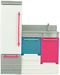 Barbie Replacement Parts Dreamhouse CJR47 - Includes Kitchen Section - Refrigerator, Dishwasher, Sink, Oven and Stove