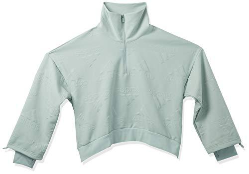 adidas Women's Logo Jacquard Half-Zip Sweatshirt AEROREADY, Green Tint, M