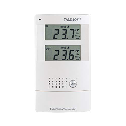 Termómetro parlante profesional para interior y exterior con alarma de calor y alarma de calor, termómetro para medir la temperatura con botón de voz, para ciegos, estación meteorológica (en inglés)
