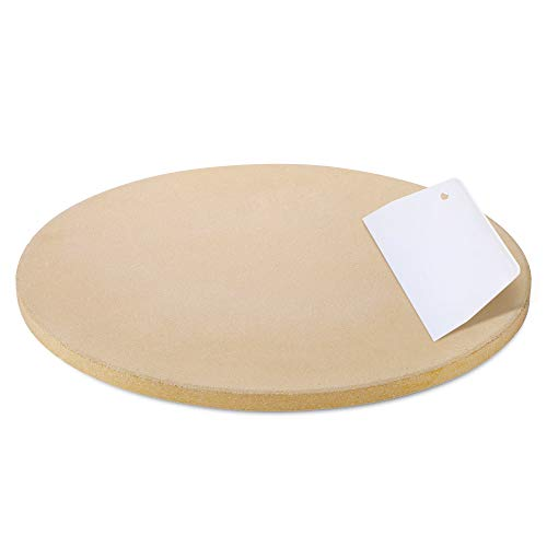 Unicook Pizza Stone, 10.25 Inch Round Pizza Grilling Stone, Baking Stone, Small Cooking Stone for Oven, Perfect Size for Personal Pizza, Ideal for Baking Crisp Crust Pizza, Bread, Cookies and More