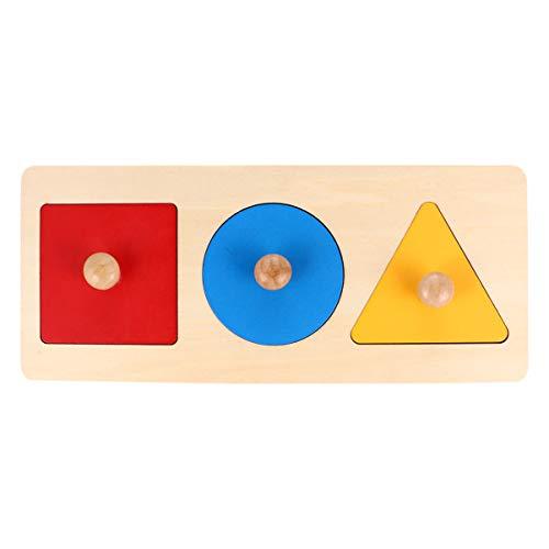 TOYANDONA 1 Pieza de Rompecabezas de Madera para Bebés Pomo de Madera Montessori Tablero de Clavijas Forma Geométrica Juego de Juguetes Educativos para Bebés