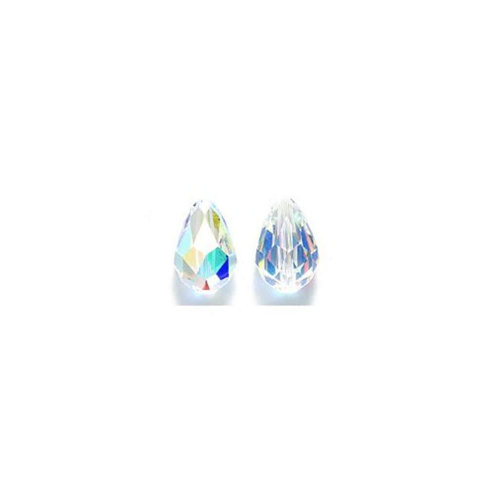 Swarovski 5500 Tear Drop Beads, Aurora Borealis Finish, 8 by 12mm, Crystal, 3-Pack