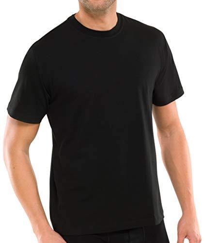Schiesser 2 Stück American T-Shirt Rundhals Herren T-Shirt - Schwarz: Größe: L (Gr.6)