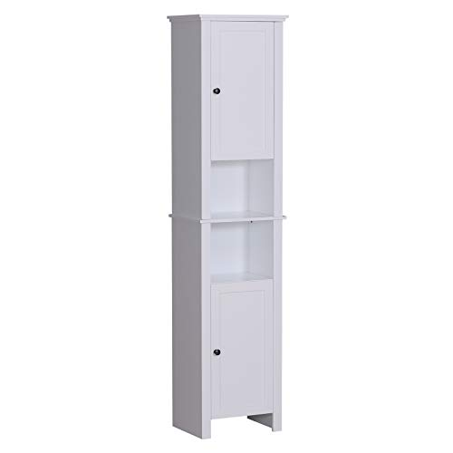 HOMCOM Bathroom Storage Cabinet with 2-Tier Shelf and 2 Cupboards, Floor Cabinet Free Standing Linen Tower Tall Slim Side Organizer Shelves, White