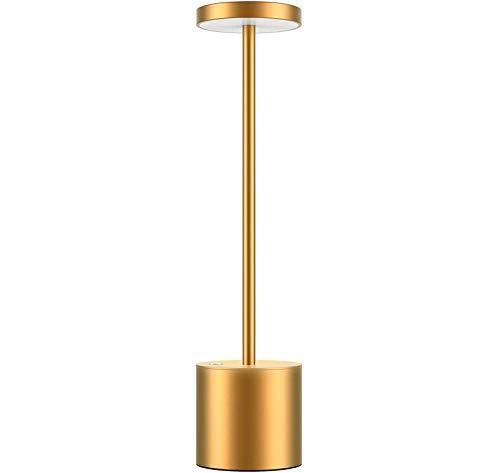 Dos modos de iluminación Metal creativo USB PROTECCIÓN DE OJOS DIMMABLE LED Lámpara de mesa, lámpara de mesa sin cable LED, lámpara de lectura para restaurante / terraza / dormitorio ( Color : Gold )