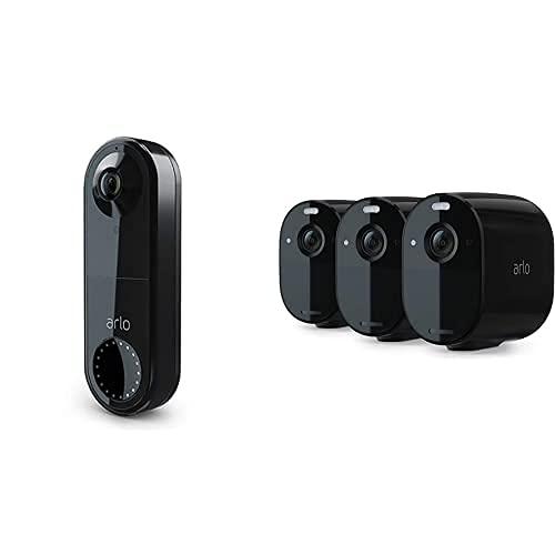 Arlo Video Doorbell Überwachungskamera und Essential Überwachungskamera 3er Set Bundle - schwarz