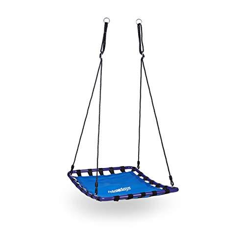Relaxdays 10020821 Balançoire nid d'oiseau carré pour le jardin à suspendre HxlxP: 153 x 98 x 74 cm poids max 113 kg, bleu noir