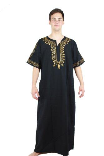 Egypt Bazar Egypt Bazar Moderner Herren-Kaftan Hauskleid, Größe: XL, schwarz