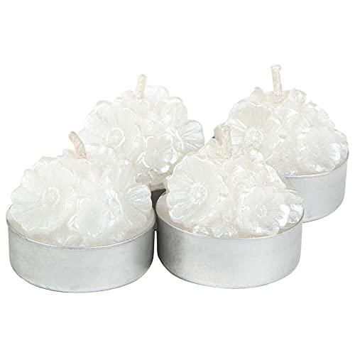 Set 4 Velas flores blancas 16x4x4