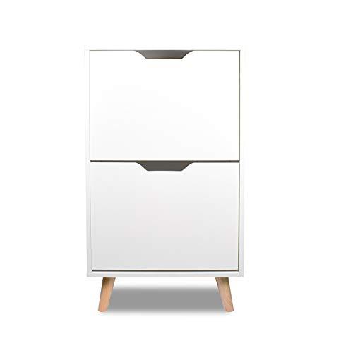 Zapatero de diseño en madera de pino moderno con 2 estantes blancos con pies