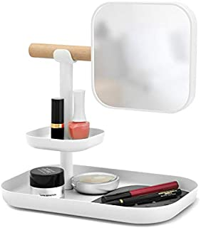 XZPENG Vanity Mirror, White/Gray Rectangle Rotatable Adjustable Simple Large HD Desktop Makeup Mirror with Tray (Color : Gray)